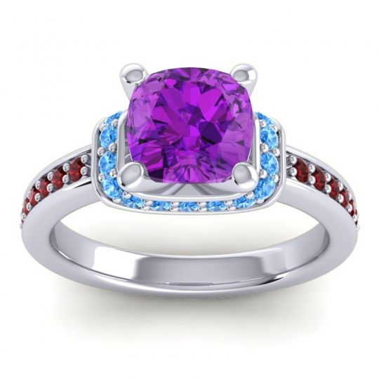 Halo Cushion Aksika Amethyst Ring with Swiss Blue Topaz and Garnet in 18k White Gold