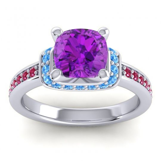 Halo Cushion Aksika Amethyst Ring with Swiss Blue Topaz and Ruby in 14k White Gold