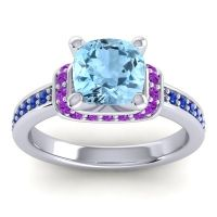 Halo Cushion Aksika Aquamarine Ring with Amethyst and Blue Sapphire in Platinum