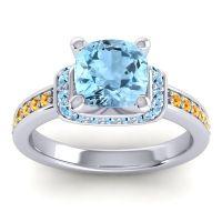 Halo Cushion Aksika Aquamarine Ring with Citrine in 18k White Gold