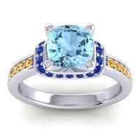 Halo Cushion Aksika Aquamarine Ring with Blue Sapphire and Citrine in Palladium
