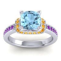 Halo Cushion Aksika Aquamarine Ring with Citrine and Amethyst in Platinum