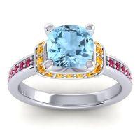 Halo Cushion Aksika Aquamarine Ring with Citrine and Ruby in Platinum