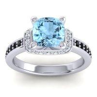 Halo Cushion Aksika Aquamarine Ring with Diamond and Black Onyx in 18k White Gold