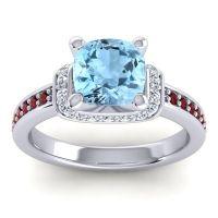 Halo Cushion Aksika Aquamarine Ring with Diamond and Garnet in Platinum
