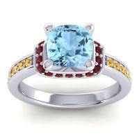 Halo Cushion Aksika Aquamarine Ring with Garnet and Citrine in 18k White Gold