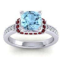 Halo Cushion Aksika Aquamarine Ring with Garnet and Diamond in 14k White Gold