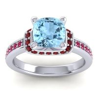 Halo Cushion Aksika Aquamarine Ring with Garnet and Ruby in 18k White Gold