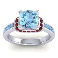 Halo Cushion Aksika Aquamarine Ring with Garnet and Swiss Blue Topaz in Palladium