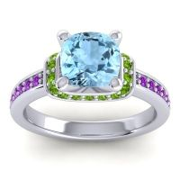 Halo Cushion Aksika Aquamarine Ring with Peridot and Amethyst in 14k White Gold