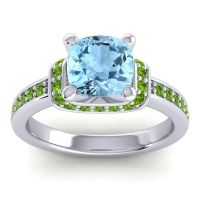 Halo Cushion Aksika Aquamarine Ring with Peridot in 14k White Gold