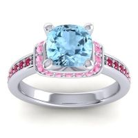 Halo Cushion Aksika Aquamarine Ring with Pink Tourmaline and Ruby in 14k White Gold