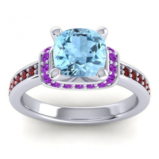 Halo Cushion Aksika Aquamarine Ring with Amethyst and Garnet in 14k White Gold