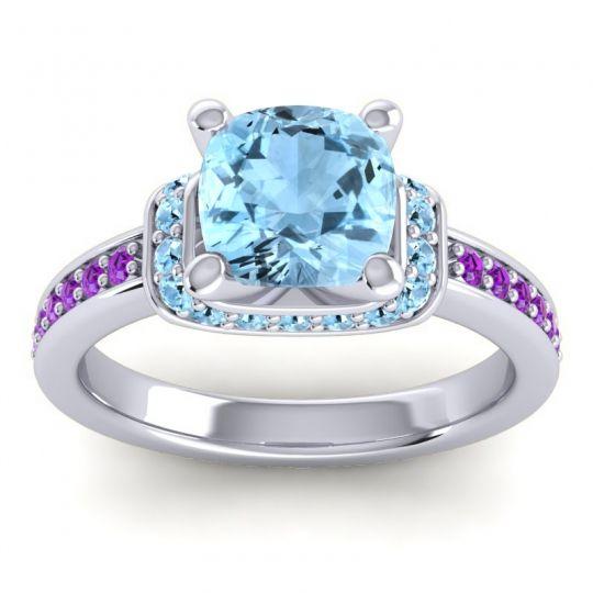 Halo Cushion Aksika Aquamarine Ring with Amethyst in Platinum