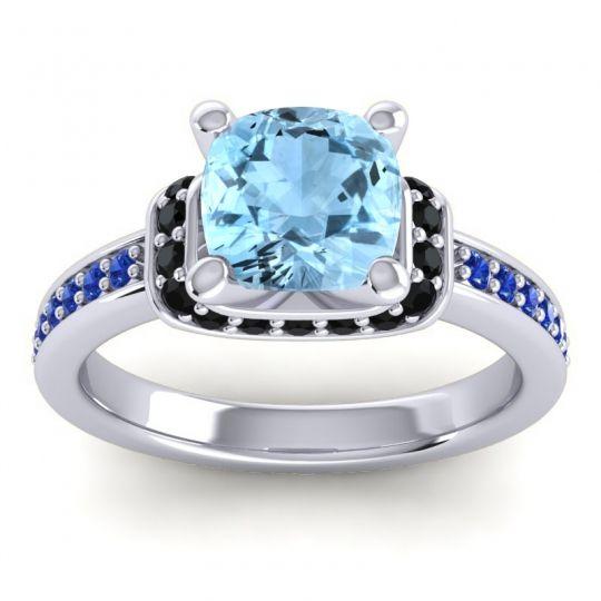 Halo Cushion Aksika Aquamarine Ring with Black Onyx and Blue Sapphire in Platinum