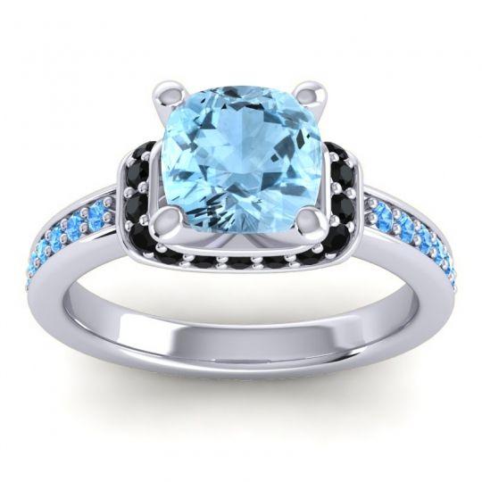 Halo Cushion Aksika Aquamarine Ring with Black Onyx and Swiss Blue Topaz in Palladium