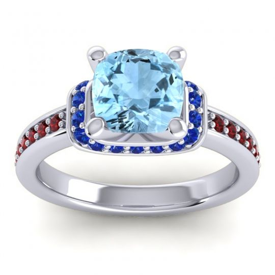 Halo Cushion Aksika Aquamarine Ring with Blue Sapphire and Garnet in 18k White Gold