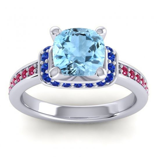 Halo Cushion Aksika Aquamarine Ring with Blue Sapphire and Ruby in 14k White Gold