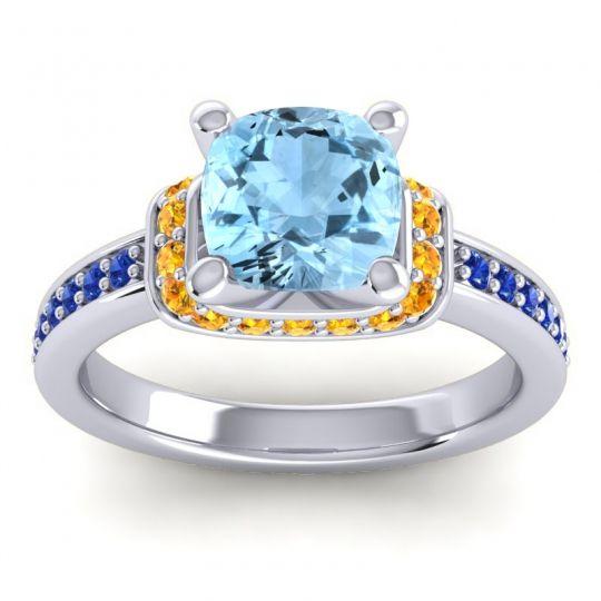 Halo Cushion Aksika Aquamarine Ring with Citrine and Blue Sapphire in Palladium
