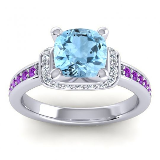Halo Cushion Aksika Aquamarine Ring with Diamond and Amethyst in 14k White Gold