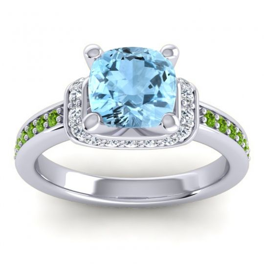 Halo Cushion Aksika Aquamarine Ring with Diamond and Peridot in 18k White Gold