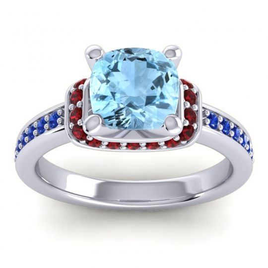 Halo Cushion Aksika Aquamarine Ring with Garnet and Blue Sapphire in 14k White Gold