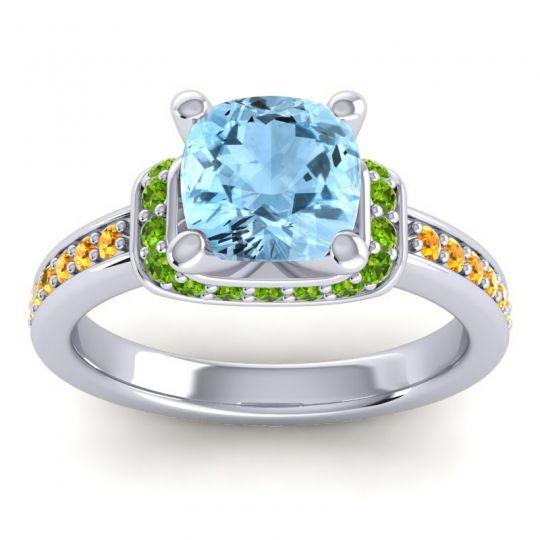Halo Cushion Aksika Aquamarine Ring with Peridot and Citrine in 18k White Gold