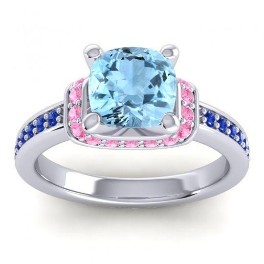 Halo Cushion Aksika Aquamarine Ring with Pink Tourmaline and Blue Sapphire in Platinum