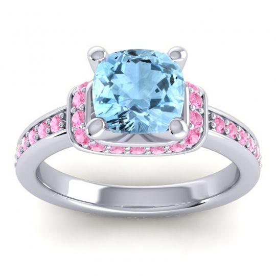 Halo Cushion Aksika Aquamarine Ring with Pink Tourmaline in Palladium