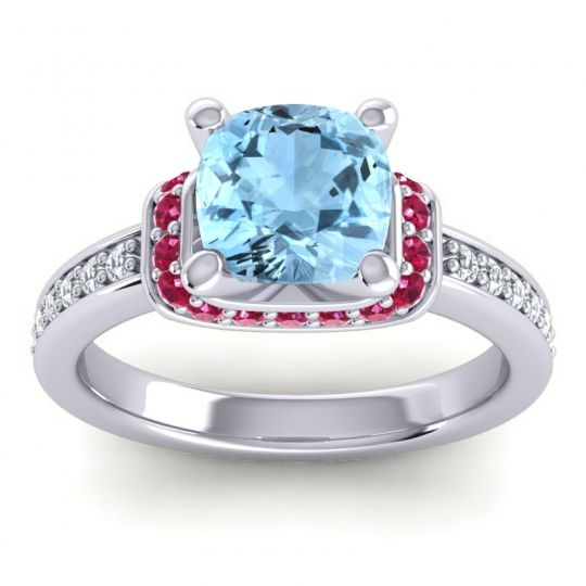Halo Cushion Aksika Aquamarine Ring with Ruby and Diamond in 18k White Gold