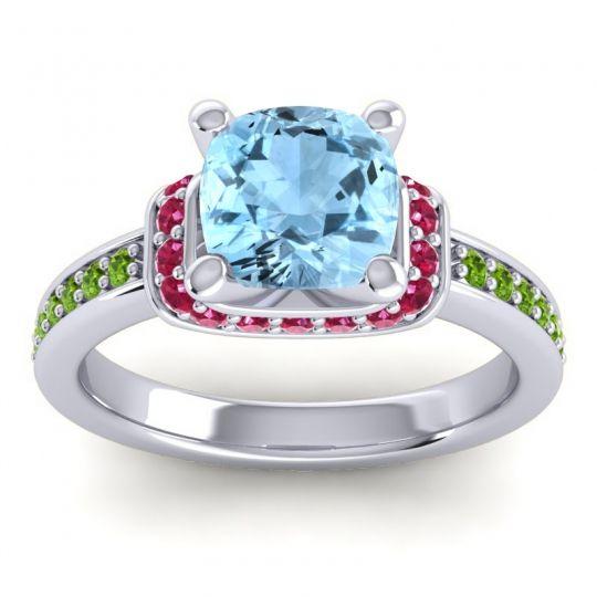 Halo Cushion Aksika Aquamarine Ring with Ruby and Peridot in Palladium