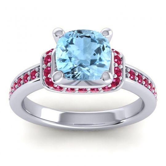 Halo Cushion Aksika Aquamarine Ring with Ruby in Palladium