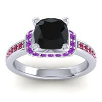 Halo Cushion Aksika Black Onyx Ring with Amethyst and Ruby in Palladium
