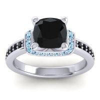Halo Cushion Aksika Black Onyx Ring with Aquamarine in 18k White Gold