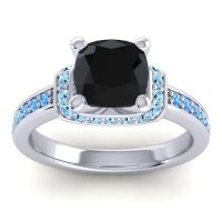Halo Cushion Aksika Black Onyx Ring with Aquamarine and Swiss Blue Topaz in 18k White Gold