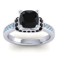 Halo Cushion Aksika Black Onyx Ring with Aquamarine in 14k White Gold