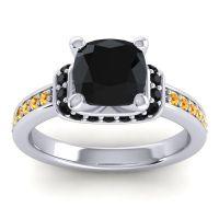 Halo Cushion Aksika Black Onyx Ring with Citrine in Palladium