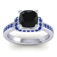 Halo Cushion Aksika Black Onyx Ring with Blue Sapphire in 18k White Gold
