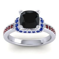 Halo Cushion Aksika Black Onyx Ring with Blue Sapphire and Garnet in 18k White Gold