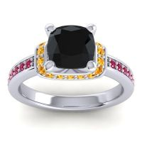 Halo Cushion Aksika Black Onyx Ring with Citrine and Ruby in 14k White Gold