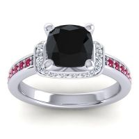 Halo Cushion Aksika Black Onyx Ring with Diamond and Ruby in 14k White Gold