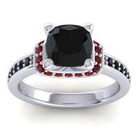 Halo Cushion Aksika Black Onyx Ring with Garnet in 18k White Gold