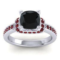 Halo Cushion Aksika Black Onyx Ring with Garnet in 14k White Gold