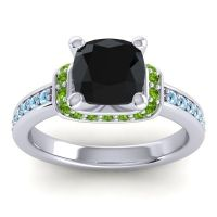 Halo Cushion Aksika Black Onyx Ring with Peridot and Aquamarine in 14k White Gold