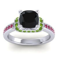 Halo Cushion Aksika Black Onyx Ring with Peridot and Ruby in Palladium