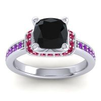 Halo Cushion Aksika Black Onyx Ring with Ruby and Amethyst in 14k White Gold