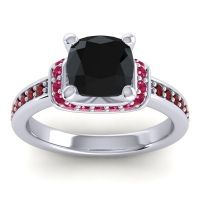 Halo Cushion Aksika Black Onyx Ring with Ruby and Garnet in 18k White Gold