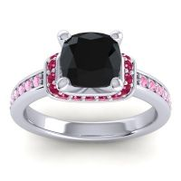 Halo Cushion Aksika Black Onyx Ring with Ruby and Pink Tourmaline in 18k White Gold
