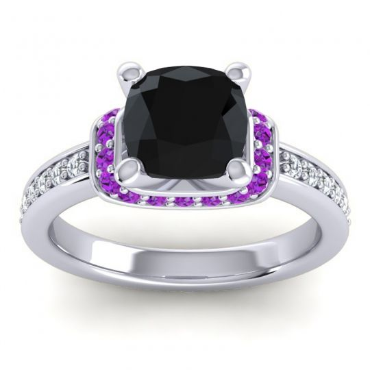 Halo Cushion Aksika Black Onyx Ring with Amethyst and Diamond in 18k White Gold