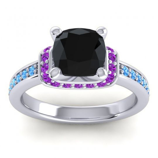 Halo Cushion Aksika Black Onyx Ring with Amethyst and Swiss Blue Topaz in 18k White Gold